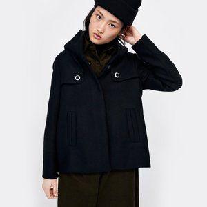 ZARA Wool Blend Black Coat NEW